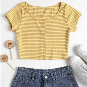 Yellow&White Striped Crop Top